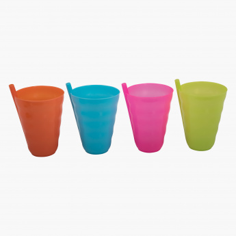 Tumbler with Inbuilt Straw - Set of 4
