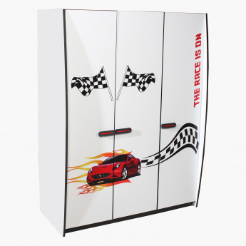 Capri Racer Printed 3-Door Wardrobe