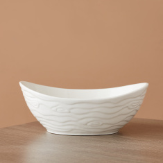 Waves Porcelain Oval Bowl - 25 cms