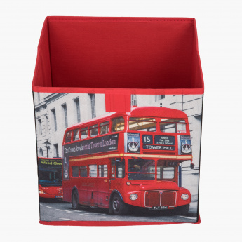 London Bus Printed Cube Box - 28x28x28 cms