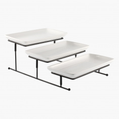 Nova 3-Tier Rectangular Plate and Stand Set