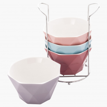 4-Piece Soup Bowl and Stand Set