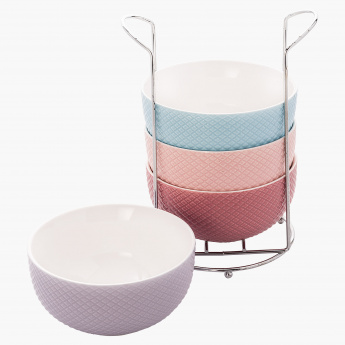 Embossed 4-Piece Soup Bowl and Stand Set