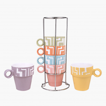 Silkscreen 6-Piece Mug with Stand Set