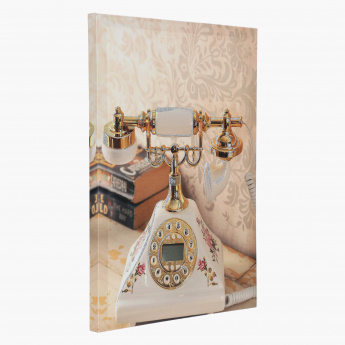 Vintage Phone Canvas Painting with 3D Highlights
