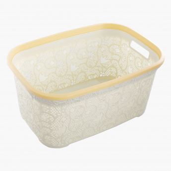 Lace Design Cornered Laundry Basket