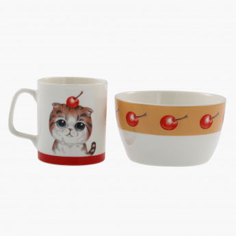 Duck Printed 2-Piece Mug and Bowl Set