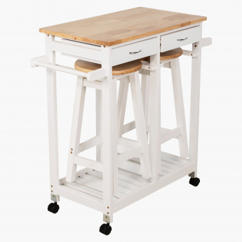 Basil Kitchen Trolley with 2 Stools