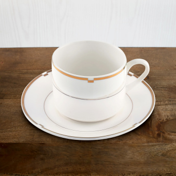 Gold Rib 12-Piece Cup and Saucer Set