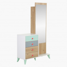 Morocco Minty 4-Drawer Tall Dresser with Mirror and Storage