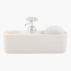 Mica Soap Dispenser with Compartments and Brush Ball