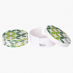 Spectra Round 6-Piece Coaster Set with Stand