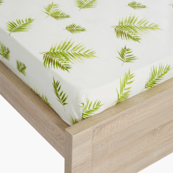 Botanic Leaf Printed Queen Fitted Sheet - 150x200 cms