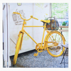 Bon-Voyage Yellow Bicycle Framed Picture 50x50x2.5