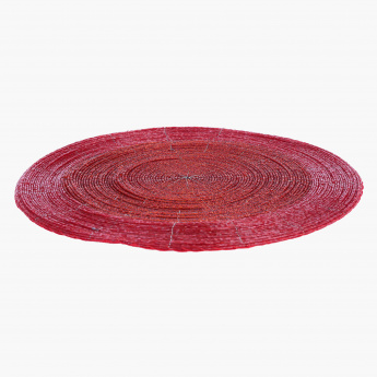 Blaze-Beaded Placemat-30 cm Dia-Red