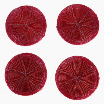 Blaze-Beaded Coaster Set of 4-10 cm Dia-Red
