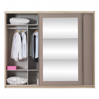 Caramel Sliding Door Wardrobe with Mirrors