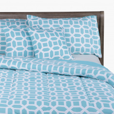 Lattice Printed King 5-Piece Comforter Set