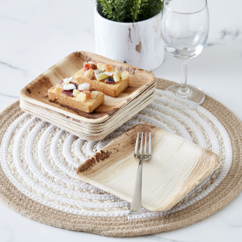 Palm Leaf Square Side Plate - Set of 10