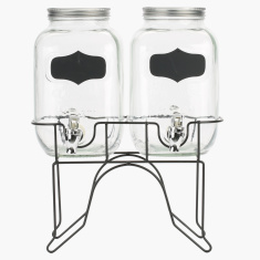 Crsyta Twin Glass Beverage Dispenser with Chalk Board