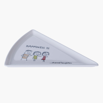 Happiness is Pizza Printed Triangular Plate