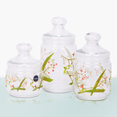 Pearl Beatitude Printed Jar with Lid - Set of 3