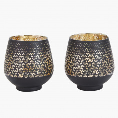 Aura Printed Egg Shape Candle Holder - Set of 2