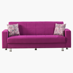 Zeus Storage 3-Seater Sofa Bed with Square Arm Style