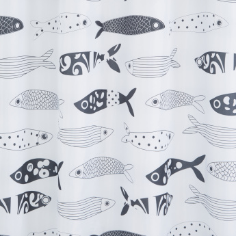 Fish Printed Shower Curtain with 12 Hooks - 180x180 cms