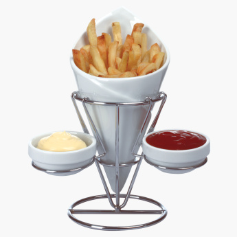 Shallow 4-Piece French Fries Holder Set