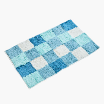 Checkered Plush Bath Mat with Contour Mat