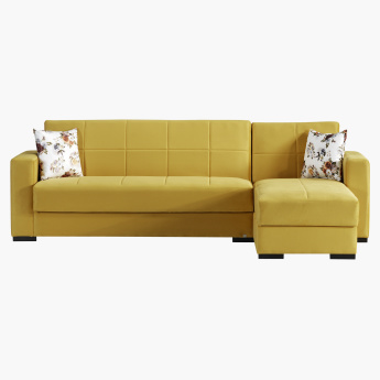 Bercy Corner Sofa Bed with Storage | Yellow | Fabric
