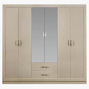 Harvest 6-Door Wardrobe with 2 Mirrors in High Gloss Laquer