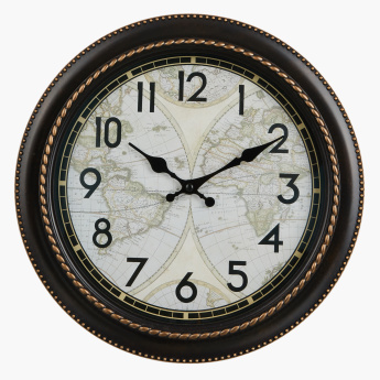 World Printed Round Wall Clock