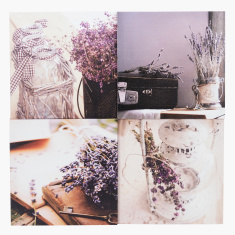 Lavender Printed 4-Piece Canvas Wall Decor