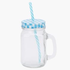 Myra Mason Jar with Chequered Lid and Straw - 400 ml
