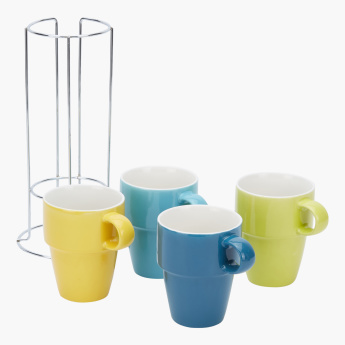 4-Piece Stackable Mug Set with Stand
