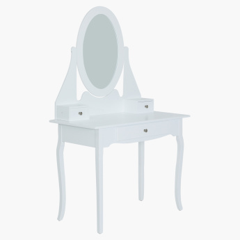 Queen Anne New Dresser with Mirror and Stool