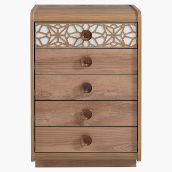 Trellis Carved 5 Chest of Drawers