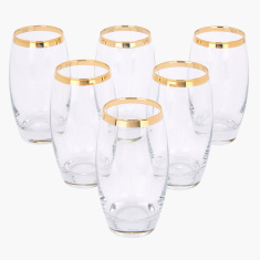 Barrel Textured 6-Piece Glass Set - 500 ml