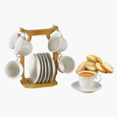 Shallow Textured 12-Piece Cup and Saucer Set with Stand