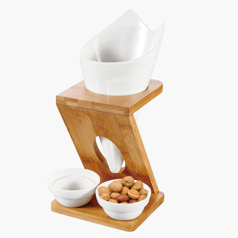 Shallow Fries Holder and 2 Dip Bowls with Stand