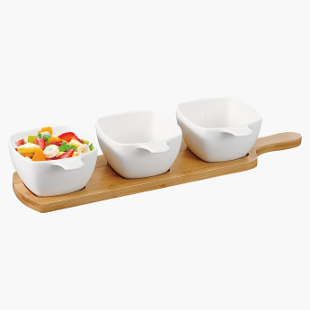 Shallow 3-Piece Serving Dish Set with Stand