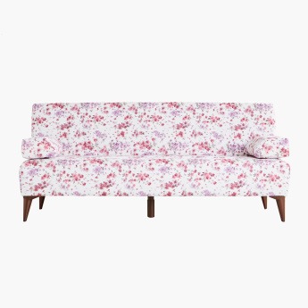 Demo Floral Printed 3-Seater Sofa Bed with 2 Pillows