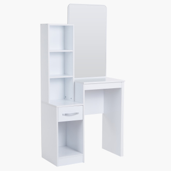 Joy Multi-Shelf 1-Drawer Dresser with Mirror and Stool