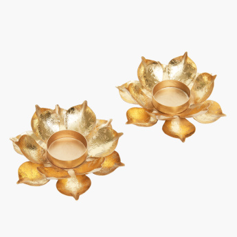 Lotus Metallic Tealight Holder - Set of 2