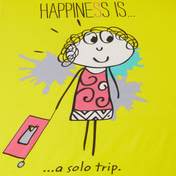 happiness is a solo trip printed twin fitted sheet 120x200 cms