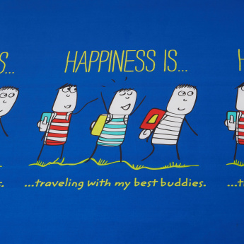 Happiness Printed Twin Fitted Bed Sheet - 120x200 cms