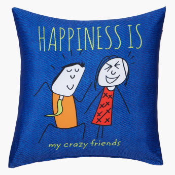 Hapiness Printed Filled Cushion - 40x40 cms