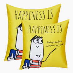Happiness is Travelling Printed Filled Cushion - 40x40 cms